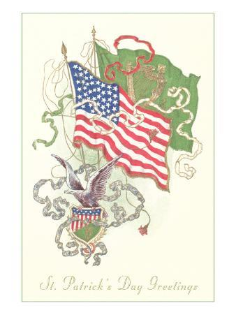 American and Irish Flags, St. Patrick's Day