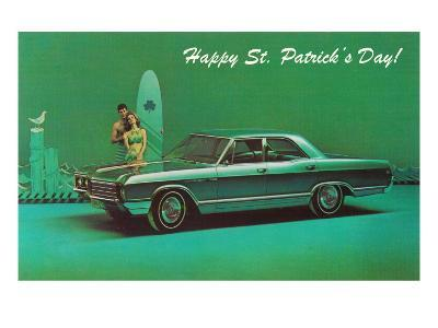 Happy St. Patrick's Day, Surfer Couple with Green Car