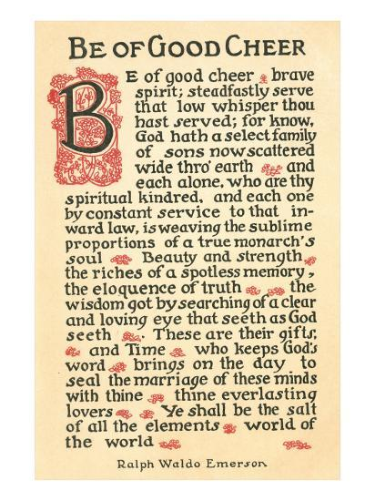 Be Of Good Cheer Emerson Quote Posters At Allposterscom