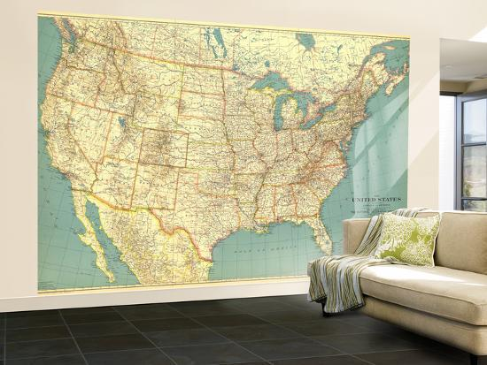 United States Map Wall Mural.1933 United States Of America Map Wall Mural Large By National