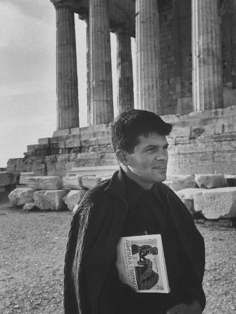 Beatnik Writer Gregory Corso Walking at Acropolis
