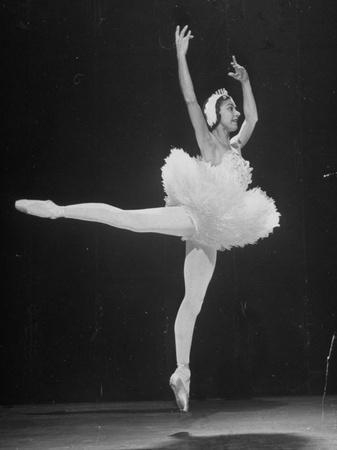 Ballerina Margot Fonteyn in White Tutu Dancing Alone on Stage