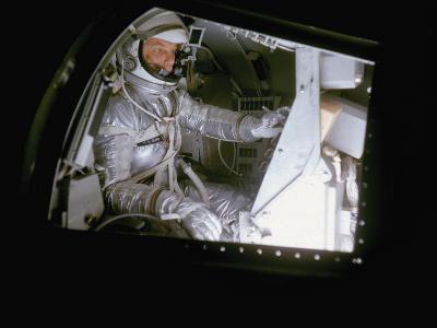 John Glenn in Mock Space Capsule During Training. Langley Research Center, Virginia