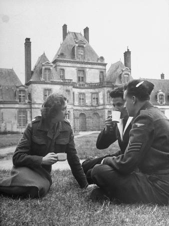 Female Dutch Corporal, French Sailor and British Soldier Having a Picnic