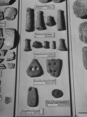 A Display of Amulets and Other Items of Archaeological Interest