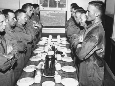 Marines Standing at Attention, before Eating, in the Mess Hall
