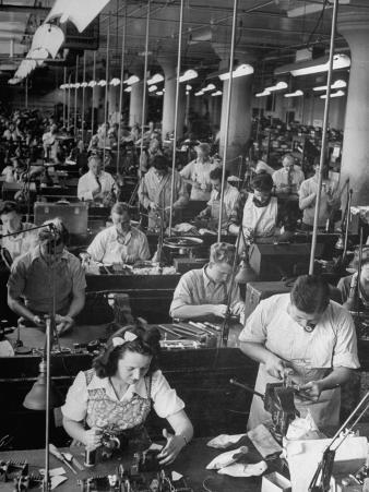 Men and Women Working in the Compass Assembly Room at the Sperry Gyroscope Plant During WWII