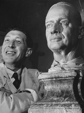 Bernard Tussaud with His Clay Model of General Douglas Macarthur