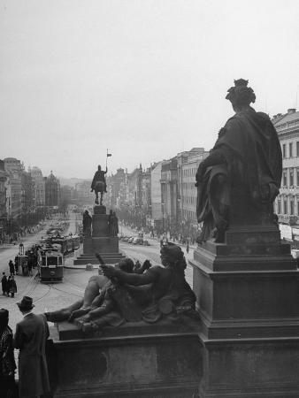 View of Wenceslas Square from the Steps of the National Museum