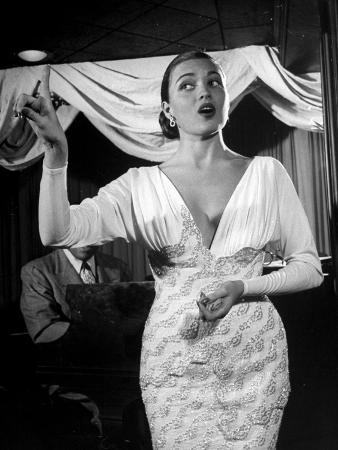 Nightclub Singer Julie Wilson, Using Hand Gestures While Singing at the Mocambo Club