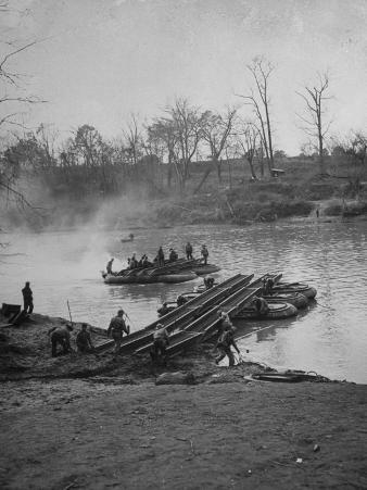 Soldiers Building a Pontoon Bridge at Fort Benning