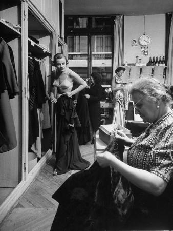French Fashion Model Christiane Richard Changing Clothes During a Fashion Show
