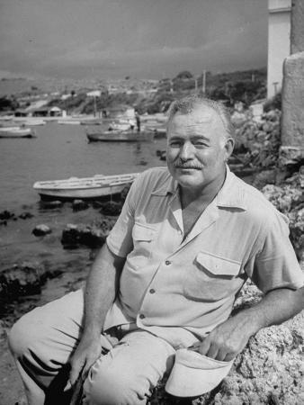Author Ernest Hemingway Posing in Cojimar Harbor