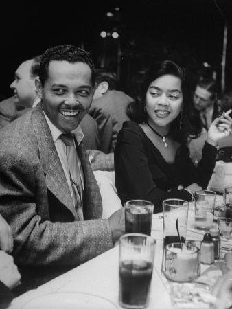 Crooner Billy Eckstine and Wife Seated at Table During Bop City Nightclub's Opening Night