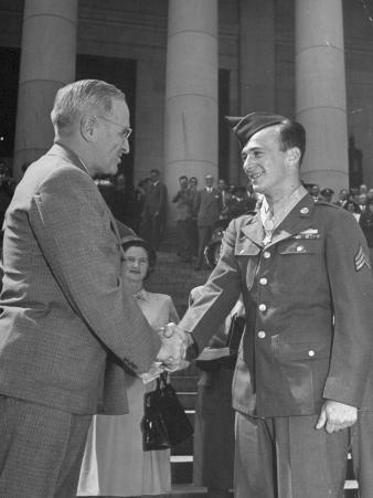 President Harry Truman Shaking Hands with Sergeant John D. Hawks