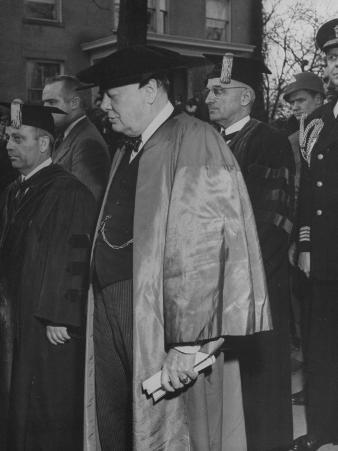 Harry Truman and British Prime Minister Winston Churchill Wearing their Ceremonial Academic Robes