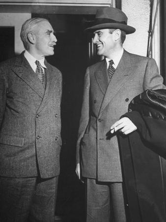 Two Men Talking Outside the White House after Meeting with President Harry S. Truman