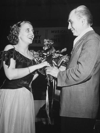 Margaret Truman Accepting Flowers at Her Singing Debut