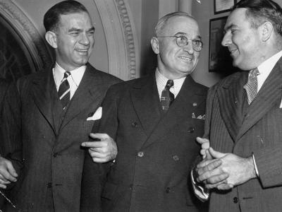 J. William Fulbright, Harry Truman and Brein McMahon Talking Upon their Arrival at Opening Session