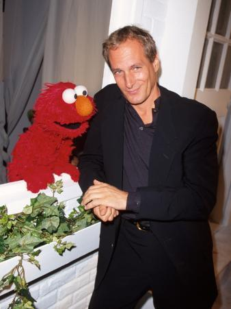 """Singer Michael Bolton with """"Sesame Street"""" Television Series Puppet Elmo at Sesame"""