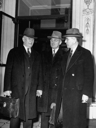 Alben with Barkley, Harry S. Truman and John with McCormack Standing in Front of the White House