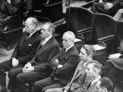Members of President Harry Truman's Cabinet Listening to Him Speak at a Joint Session of Congress