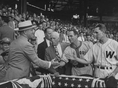 President Harry S. Truman Meeting Some of the Players at Opening Baseball Game