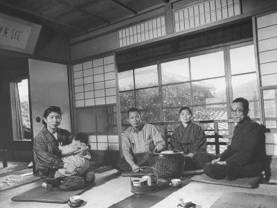 Artist Tatsu Hirota and Her Child, Her Husband Kuma Mukai, Artist Fuku Akimo and Husband Kozin Sawa