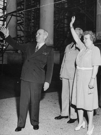 President Harry S. Truman Waving to Entering Crowds at the White House