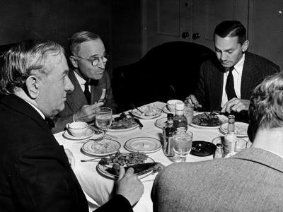 Senator Tom C. Connally, Senator Harry Truman and Senator James Forrestal Having a Meal Together