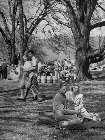 Students of Cornell University Enjoy a Picnic, Sylvia Killbourne and Bill Hosie Sharing a Blanket