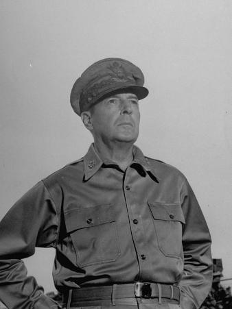 General Douglas Macarthur Standing in Front of Manila City Hall