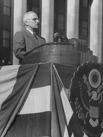 President Harry S. Truman Making a Speech During Army Day