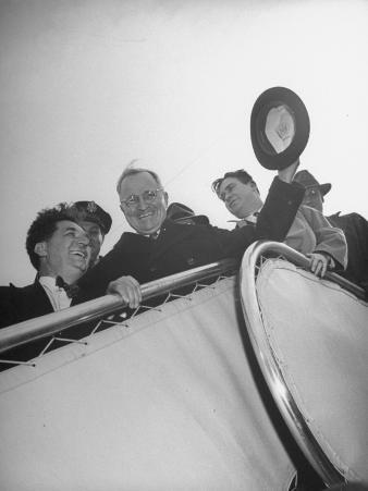 Harry S. Truman, Brightly Smiling While Waving His Hat