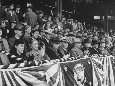 President Harry S. Truman Sitting in the Stands at Opening Game of Baseball Season