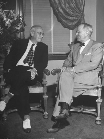 Harry S. Truman Meets Alf Landon in Pent House Apartment, Set Aside for the President