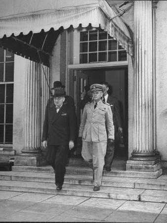 President Harry S. Truman Leaving the White House with Aide Captain James K. Vardaman