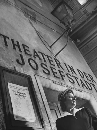 Paula Wessely Attending Theater Production at Theater in Der Josefstadt