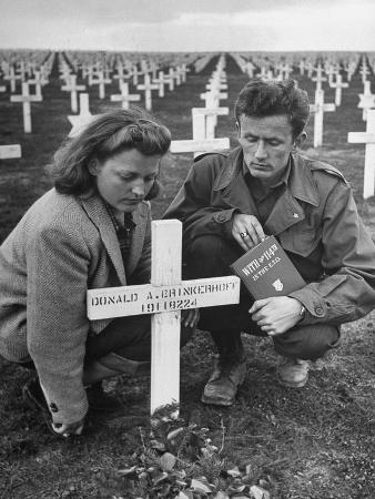 Former GI Ernest Kreiling and His Bride Visiting the Grave of His Best Friend