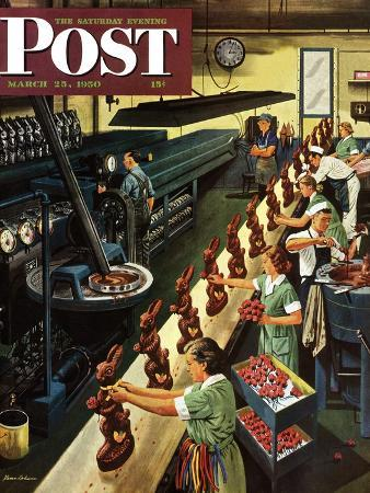 """Chocolate Easter Bunnies"" Saturday Evening Post Cover, March 25, 1950"