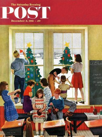 """Classroom Christmas"" Saturday Evening Post Cover, December 8, 1951"