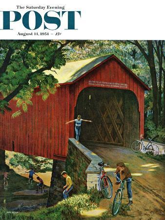 """Covered Bridge"" Saturday Evening Post Cover, August 14, 1954"