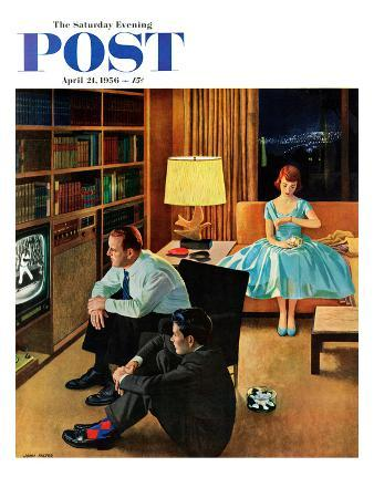 """""""Date with the Television"""" Saturday Evening Post Cover, April 21, 1956"""