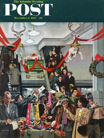 """Department Store at Christmas"" Saturday Evening Post Cover, December 6, 1952"