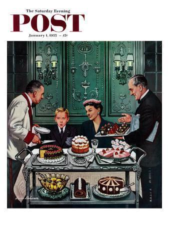 """Dessert Cart"" Saturday Evening Post Cover, January 1, 1955"