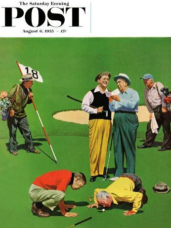 """Eighteenth Hole"" Saturday Evening Post Cover, August 6, 1955"