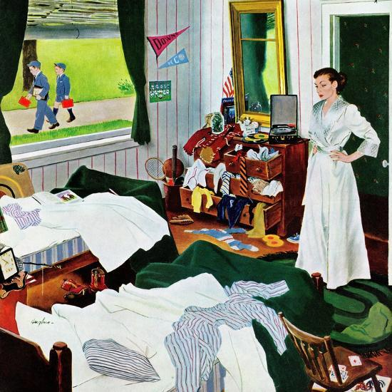 "Colorful Mess Room: ""Messy Room, Neat Boys"", October 22, 1955 Giclee Print By"