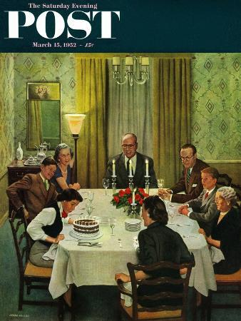 """""""Family Birthday Party"""" Saturday Evening Post Cover, March 15, 1952"""