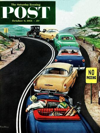 """""""No Passing"""" Saturday Evening Post Cover, October 9, 1954"""