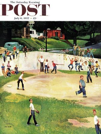 """Sandlot Homerun"" Saturday Evening Post Cover, July 6, 1957"